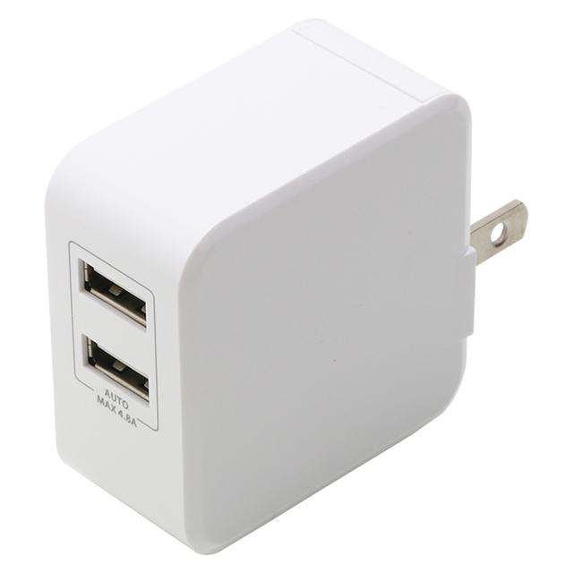 急速AC充電器4.8A USB2ポート自動判別